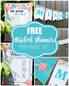 Free Floral Bridal Showers Printables - 2 games and a Miss to Mrs. Banner on prettymyparty.com.