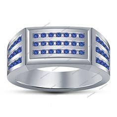 14k White Gold Finish 925 Silver Round Cut Blue Sapphire Men's Wedding Ring 7 8  #aonedesigns #MensWeddingRing