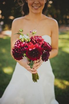 love this deep red | Via Style Me Pretty