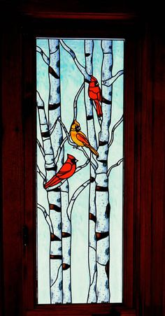 Cardinals in birch tree Privacy Decorative Window Film