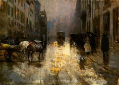 "Mosè Bianchi,""Milan on a rainy day"", 1890, oil on board"