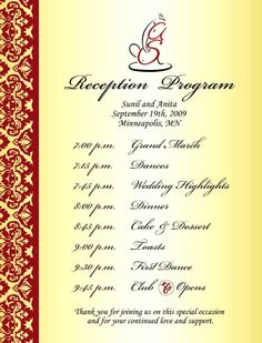 Wedding Reception Program  Google Search  Reception Ideas