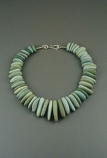 Necklace |  Tom McCarthy.  Sterling, River Rock, Nickel Silver