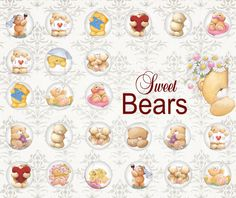 BEARs - Printable Downloads Digital Collage Sheet 1 inch Circles Images ChikUna Art for glass or resin pendants magnets round bezels