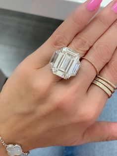 Emerald cut near colorless 3 stone diamond engagement ring by Miss Diamond Ring! Representing past, present and future. Enjoy 5 Star Engagement Ring Concierge service from one of the leading high jewelry industry experts in the world. Experience the new standard in ring shopping today. #diamondring #engagementring #engagement #emeraldengagementring #20caratring #20carat #20carats #20caratengagementring #20caratdiamondring #emeraldcut #emeralddiamondring Harry Winston Engagement Rings, Luxury Engagement Rings, 20 Carat Diamond Ring, Tiffany Engagement, Solitaire Rings, Concierge, Dream Ring, High Jewelry, Emerald Cut