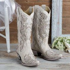 Corral Tan and White Glitter Inlay With Crystals Western Wedding Boots - Cowgirl Delight Country Wedding Dresses, Princess Wedding Dresses, Country Wedding Boots, Rustic Wedding, Wedding Gowns, Country Weddings, Vintage Weddings, Wedding Vintage, Lace Weddings