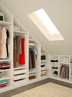 Enchanting attic storage,Attic remodel ideas and Attic renovation floor plans. Attic Apartment, Attic Rooms, Attic Spaces, Attic Playroom, Attic Wardrobe, Attic Closet, Open Wardrobe, Garage Attic, Room Closet
