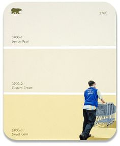 """""""370C - Walmart Employee"""" illustrated paint chips by Shawn Huckins."""