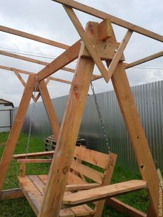 A Frame Swing Set, Porch Swing Frame, Diy Swing, Pergola Swing, Swing Seat, Swing Set Plans, Diy Garden Furniture, Wood Pallet Furniture, Diy Outdoor Furniture