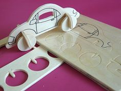 Strong plywood in which seven pieces of car are cut ready for pressing out and assembling. Available in truck, train and plane designs too.  No glue required.  75p