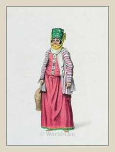 Woman costume Symi island. Ottoman empire historical clothing