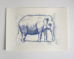 Linoldruck Elefant | limitierte Auflage von Katja Rub