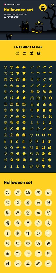 You've seen a nice set of Spooky Halloween Icons! These are available in 2 formats and 4 styles. You can use these icons in any your Halloween related designs. Halloween is appoaching… So check out and enjoy right now! Halloween Icons, Halloween 2017, Spooky Halloween, Free Logo Templates, Font Combinations, Scene Creator, Tool Design, Vector Icons, Icon Set