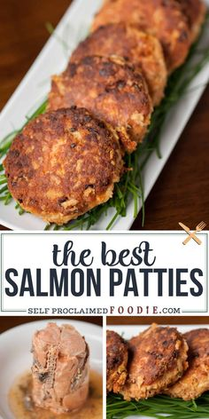 Salmon Patties, made from wild caught canned salmon, are an easy to make dinner . - Salmon Patties, made from wild caught canned salmon, are an easy to make dinner time favorite in our house and are the best salmon cake recipe ever! Salmon Dishes, Fish Dishes, Seafood Dishes, Yummy Recipes, Cooking Recipes, Crab Cake Recipes, Fish Cakes Recipe, Recipies, Best Seafood Recipes