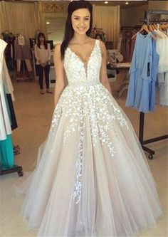 V Neck Prom Dresses,Lace Prom Dress,Sexy Prom Dress,Formal Dress,Evening Dress,Ball Gown Prom Dresses,Tulle Wedding Dress