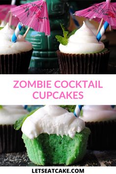 Make these delicious zombie cocktail cupcakes to snack on while you sip this namesale cocktail. This traditional tiki summer cocktail is the perfect fruit cocktail to enjoy all summer long. #cocktail #cocktailcupcake #zombiecocktail #summercupcake