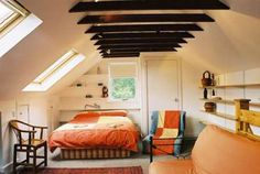 low ceiling solution for space, upstairs bedrooms, love the windows on the slant, really opens up the space with the lighting.