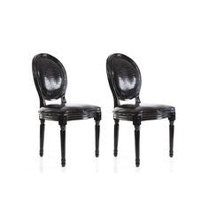 Lot de 2 chaises baroque Louis Xvi noir Medaillon : en vente sur RueDuCommerce