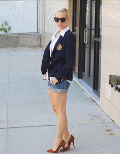 Ralph Lauren Blazer, H Shorts, Michael Kors Button Down, HRH Collection Necklace.   Zara Shoes, Karen Walker Sunglasses, Alexander McQueen Ring