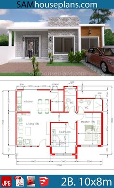 House Plans with 2 Bedrooms - Sam House Plans Modern House Floor Plans, Modern Bungalow House, Sims House Plans, Bungalow House Plans, Contemporary House Plans, Dream House Plans, 2 Bedroom House Plans, Family House Plans, Small House Plans