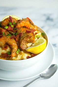 New Orleans BBQ Shrimp and Grits | Grandbaby Cakes for Delish Dish
