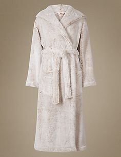 Shimmer Hooded Dressing Gown   M&S