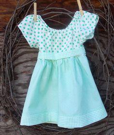 Baby Girl Clothing Peasant Dress green polka by SouthernSister2, $25.00