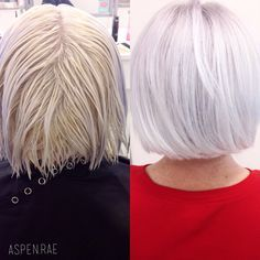 From Brassy to Classy | Ice white hair | Modern SalonPre lightened to a pale yellow (She had used shimmer lights that left a blue/purple build up on her ends) cleansed the build up out of the ends, then toned. FORMULA | REDKEN Shades EQ gloss 1 oz 9V 1oz 9T 1oz 9G Splash of 9B Drop of 1B equal parts clear and processing solution. Apply to new growth, process for 20 minutes, then comb through and saturate ends for 5 minutes.