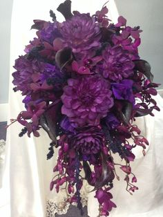 Purple cascading bridal bouquet