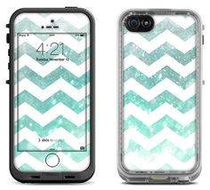 Teal Shimmer Chevron Decal Skin for the iPhone 4/4s by MintedSkins
