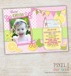 Girls First Birthday Lemonade Invitation - Mason Jar Chevron Bunting Lemonade Stand - Photo Invite - Pink Yellow Green Brown