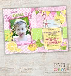 Girls First Birthday Lemonade Invitation - Mason Jar Chevron Bunting Lemonade Stand - Photo Invite - Pink Yellow Green Brown