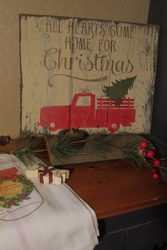 All hearts come home for Christmas with red truck and tree primitive sign vintage sign retro Christmas