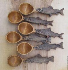 Ложки ручной работы. Ярмарка Мастеров - ручная работа. Купить Ложки для сибирских и дальневосточных рыбаков. Handmade. Коричневый, подарок рыбаку