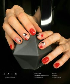 Nail Shapes New Trends and Designs of Different Nail Shapes Na. - The most beautiful nail designs Red Nails, Love Nails, Pretty Nails, Hair And Nails, Red Nail Art, Black Nails, Types Of Nails Shapes, Different Nail Shapes, Minimalist Nails