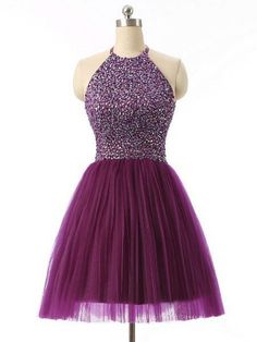 2016 Halter 8th Grade Graduation Dresses Beads Short Purple Semi Formal Dress…