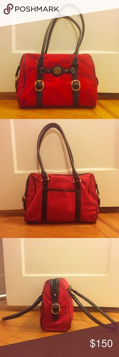 "Etienne Aigner Handbag This Etienne Aigner satchel handbag has been used once. It is authentic (Aigner's European brand is manufactured in Italy while the American brand is manufactured in China). Dimensions are 12""x9""x4.5"". No trades or PayPal. Reasonable offers accepted. Etienne Aigner Bags Shoulder Bags"