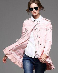 Pink Long Sleeve Zipped Single Breasted Ruffle Coat, Pink, YUJIA | VIPme