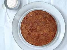 "Brown Butter Polenta Cake with Maple Caramel. For a moist cake, be sure to use finely ground polenta labeled ""quick-cooking"" or ""instant""; cooking times listed on the package will be five minutes or less. Gluten Free Baking, Gluten Free Desserts, Gluten Free Recipes, Gf Recipes, Cream Recipes, Baking Recipes, Healthy Recipes, Caramel Recipes, Candy Recipes"