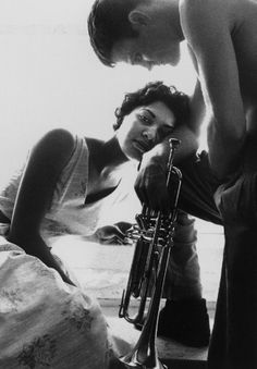 Chet Baker, his horn, and his muse.