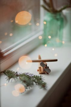 Handmade wooden airplane, christmas toy