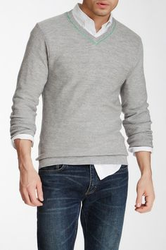 Relwen Link Stitch V-Neck Sweater by Non Specific on @HauteLook