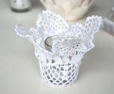 doily votive: saturating a doily in polytex, hang over a glass, leave to harden