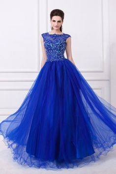 2014 Noble Scoop Neckline Cap Sleeve Prom Dress Beaded Bodice With Long Tulle Skirt USD 156.99 VPXQLHHL1 - VoguePromDresses