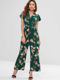 62a456f11f6 Belted Floral Lapel Wide Leg Jumpsuit - DEEP GREEN M Cute Rompers