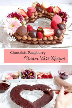 How to make a decadent and beautiful chocolate raspberry cream tart. Recipes for… How to make a decadent and beautiful chocolate raspberry cream tart. Recipes for chocolate pâte sablée, chocolate diplomat cream and raspberry ganache included. Raspberry Desserts, Raspberry Ganache, Raspberry Tarts, Raspberry Chocolate, Lemon Tarts, Tart Recipes, Dessert Recipes, Dessert Food, Valentine Desserts
