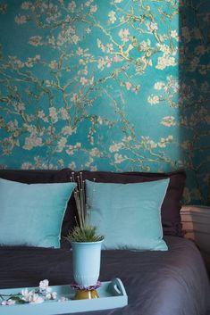 "Papier peint ""Van Gogh Almond Blossom"", 4 Murs Van Gogh Almond Blossom, Design Studio, Painted Paper, Glass House, Feng Shui, Architecture Design, Sweet Home, Interior Design, Wallpaper"