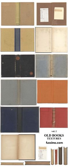 Cool worn out vintage library book covers and pages at high resolutions from Fuzzimo. Vintage Library, Vintage Books, Vintage Paper, Mini Library, Book Texture, Free Graphics, Old Books, Book Binding, Graphic Design Typography