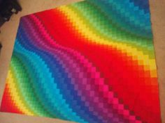 Rainbow Bargello - Jelly Roll Kona Roll Up Classic Free Pattern Easy Fast