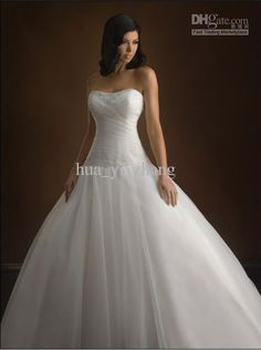 Wholesale 2012 Ball Gown Strapless Pleated/Ruffled Bodice Organza Zip Up Chapel Train Bridal Gown/Dress 2352, Free shipping, $152.32-156.8/Piece | DHgate